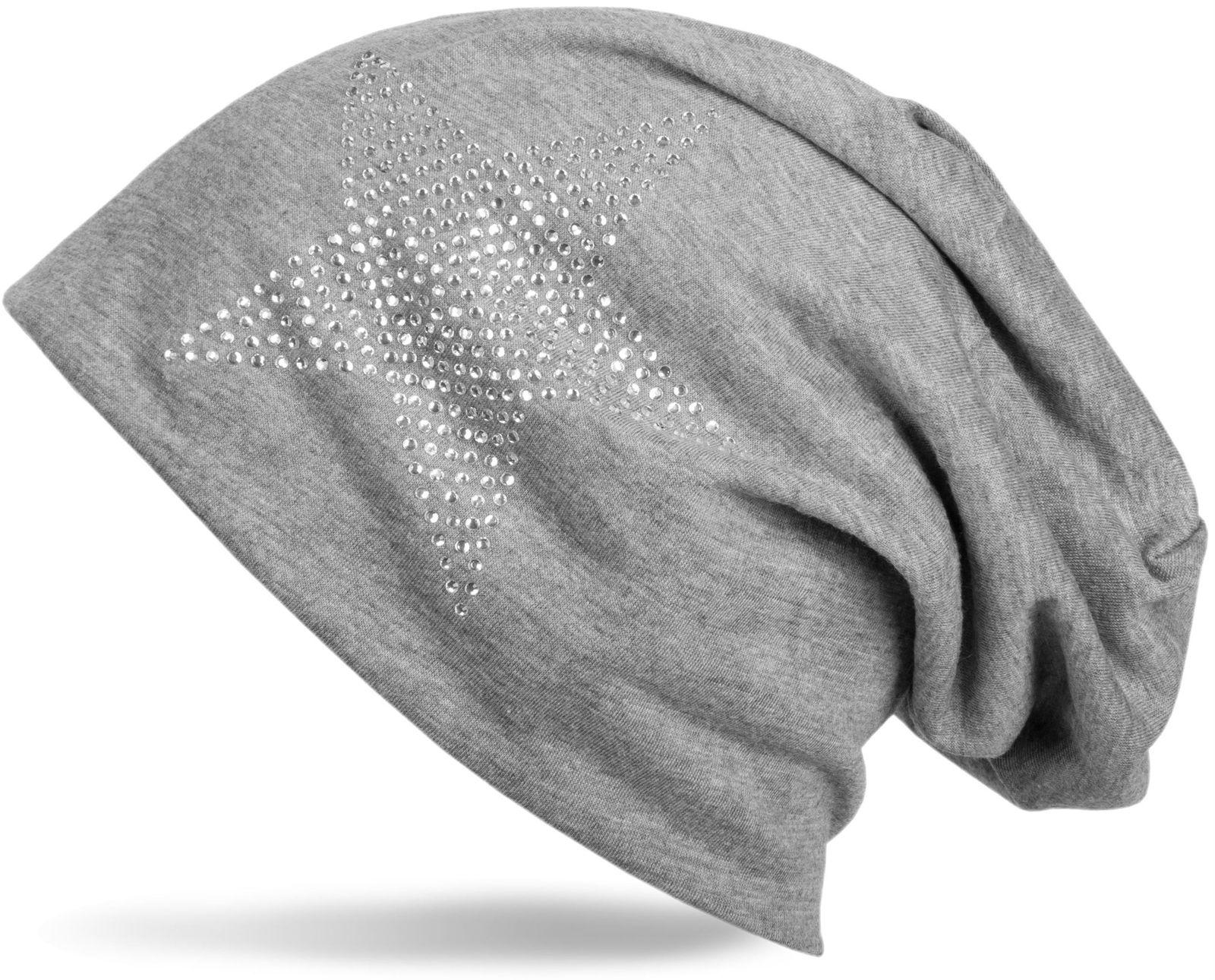 Cuffia beanie classica unisex con applique di strass e stelle