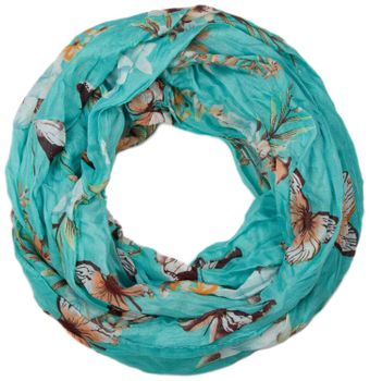 styleBREAKER butterfly and flowers print tube scarf, crush and crinkle 01016013 – Bild 1