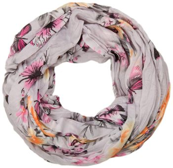 styleBREAKER butterfly and flowers print tube scarf, crush and crinkle 01016013 – Bild 8