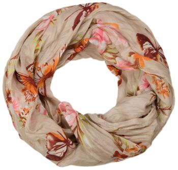 styleBREAKER butterfly and flowers print tube scarf, crush and crinkle 01016013 – Bild 5