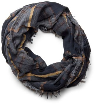 styleBREAKER plaid pattern loop tube scarf in crash look with fringes, soft quality, unisex 01018057 – Bild 3