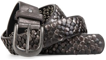 styleBREAKER real vintage style studded belt with genuine leather, shortened 03010043 – Bild 6