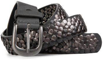 styleBREAKER real vintage style studded belt with genuine leather, shortened 03010043 – Bild 4