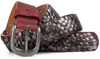 styleBREAKER real vintage style studded belt with genuine leather, shortened 03010043 – Bild 3