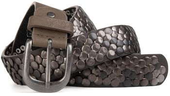 styleBREAKER real vintage style studded belt with genuine leather, shortened 03010043 – Bild 1