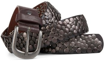styleBREAKER real vintage style studded belt with genuine leather, shortened 03010043 – Bild 5