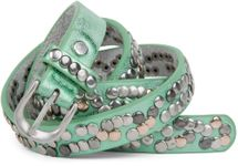styleBREAKER narrow studded belt with multi-colored rivets in vintage style with genuine leather, shortened 03010044 – Bild 12