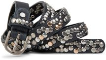 styleBREAKER narrow studded belt with multi-colored rivets in vintage style with genuine leather, shortened 03010044 – Bild 5