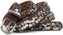 styleBREAKER narrow studded belt with multi-colored rivets in vintage style with genuine leather, shortened 03010044 – Bild 3