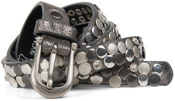 styleBREAKER narrow studded belt with flat studs and rhinestones in vintage style with genuine leather, shortened 03010045 – Bild 5