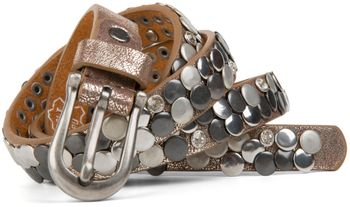 styleBREAKER narrow studded belt with flat studs and rhinestones in vintage style with genuine leather, shortened 03010045 – Bild 4