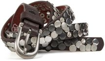 styleBREAKER narrow studded belt with flat studs and rhinestones in vintage style with genuine leather, shortened 03010045 – Bild 3