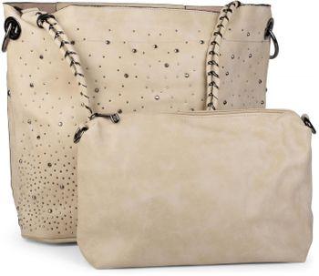 styleBREAKER Handtaschen Set mit Strass Applikation im Sternenhimmel Design, 2 Taschen 02012013 – Bild 46