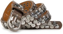 styleBREAKER narrow studded belt with flat pressed rivets in vintage style, used look with genuine leather, shortened 03010046 – Bild 6