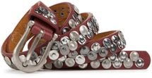 styleBREAKER narrow studded belt with flat pressed rivets in vintage style, used look with genuine leather, shortened 03010046 – Bild 8