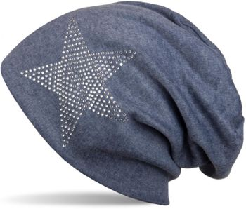 styleBREAKER warm beanie hat with star rhinestone application, unisex 04024023 – Bild 1