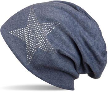 styleBREAKER klassische Unisex Beanie Mütze mit Stern Strass Applikation, warm 04024023 – Bild 1
