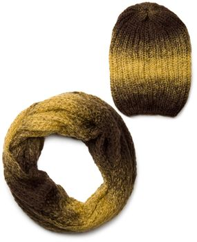 styleBREAKER scarf and hat combo set, colorful chunky knit tube scarf and knitting beanie 01018201 – Bild 1