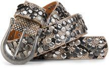 styleBREAKER snakeskin optic studded belt in vintage style with genuine leather, shortened 03010008 – Bild 4