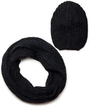 styleBREAKER Schal und Mütze Kombi Set, marmorierter Grobstrick Loop Schlauchschal mit Strick Beanie Mütze 01018206 – Bild 7