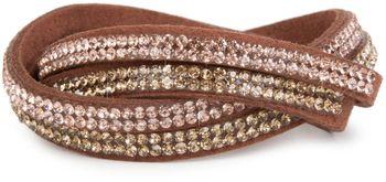 styleBREAKER weiches Strass Armband, eleganter Armschmuck mit Strassteinen, Wickelarmband, 2x2-Reihig, Damen 05040004 – Bild 9