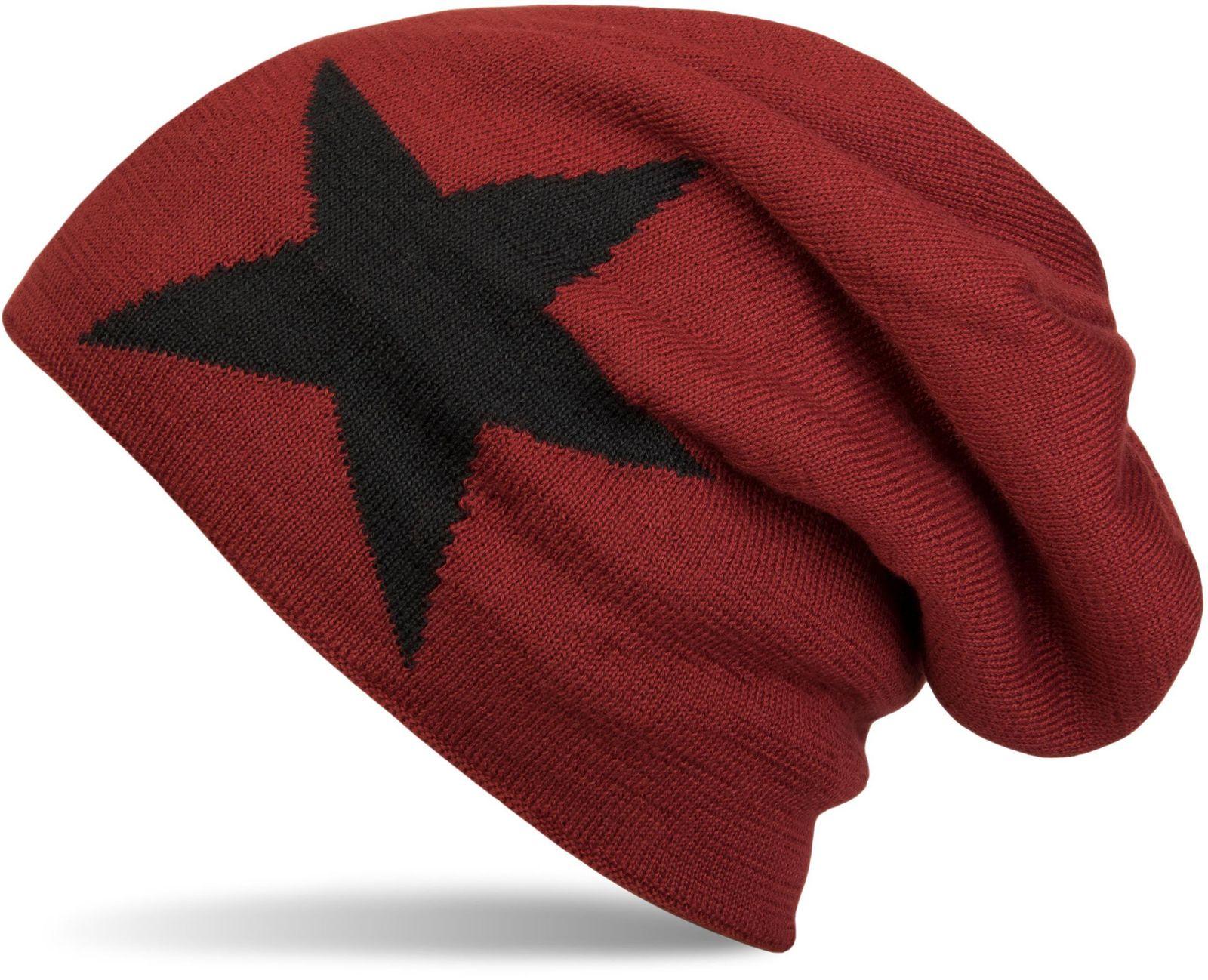 Warme klassische Unisex Strick Beanie Mütze mit Stern sehr weiches Innenfutter