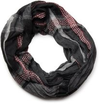 styleBREAKER modern check striped men's tube scarf snood with contrasting decorative seams, unisex 01018074 – Bild 3