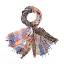 styleBREAKER colorful stripes plaid pattern scarf with fringe, men 01018075 – Bild 3