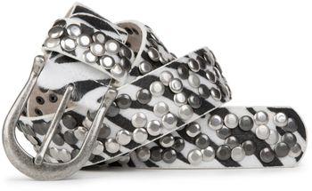 styleBREAKER Zebra Muster Nieten Gürtel im Vintage Style , Zebrafell Imitat, kürzbar 03010008 – Bild 2