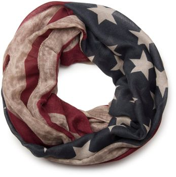 styleBREAKER Vintage Design USA Flaggen Muster Loop Schlauchschal, Stars and Stripes, Unisex 01016083 – Bild 1