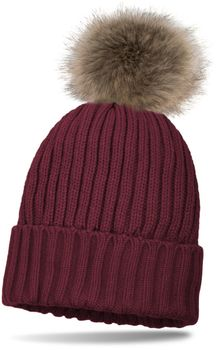 styleBREAKER lined pompom hat with ribbed pattern, knit beanie with fur bobble, winter hat 04024031 – Bild 1