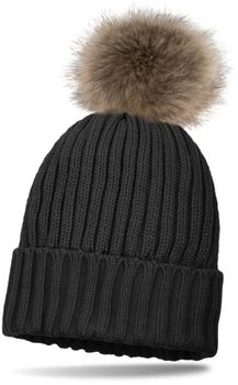 styleBREAKER knitted beanie with large fur pompom and perl rip pattern, warm fleece inner lining, winter hat, women 04024031 – Bild 7