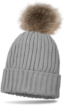 styleBREAKER lined pompom hat with ribbed pattern, knit beanie with fur bobble, winter hat 04024031 – Bild 5