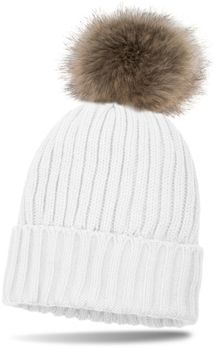 styleBREAKER lined pompom hat with ribbed pattern, knit beanie with fur bobble, winter hat 04024031 – Bild 8