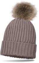 styleBREAKER knitted beanie with large fur pompom and perl rip pattern, warm fleece inner lining, winter hat, women 04024031 – Bild 15