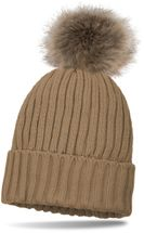 styleBREAKER lined pompom hat with ribbed pattern, knit beanie with fur bobble, winter hat 04024031 – Bild 4