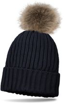 styleBREAKER knitted beanie with large fur pompom and perl rip pattern, warm fleece inner lining, winter hat, women 04024031 – Bild 9