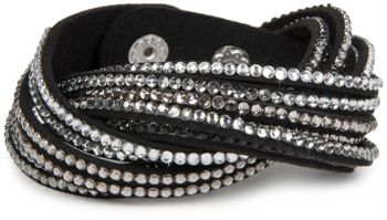 styleBREAKER soft and elegant rhinestone wrab bracelet, wristband, 6x1-row, women jewelry 05040005 – Bild 2