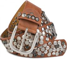 styleBREAKER studded belt with various studs and rhinestones in a vintage design, 03010051 – Bild 44