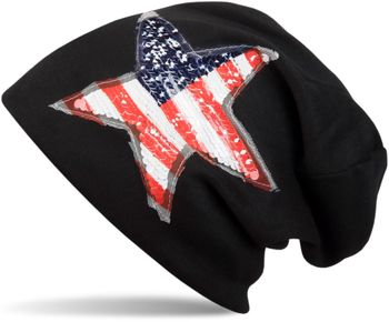 styleBREAKER Beanie Mütze mit USA Pailletten Stern Applikation, Stars and Stripes, Unisex 04024033 – Bild 3