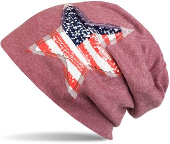 styleBREAKER beanie with USA sequins star appliqué, stars and stripes, unisex 04024033 – Bild 4