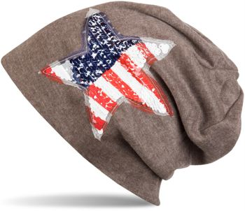 styleBREAKER beanie with USA sequins star appliqué, stars and stripes, unisex 04024033 – Bild 1