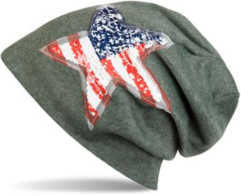 styleBREAKER Beanie Mütze mit USA Pailletten Stern Applikation, Stars and Stripes, Unisex 04024033 – Bild 6