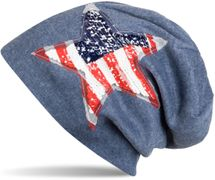 styleBREAKER beanie with USA sequins star appliqué, stars and stripes, unisex 04024033 – Bild 7