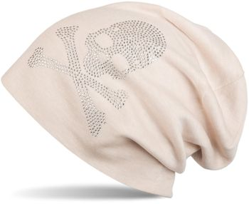 styleBREAKER classic beanie hat with skull rhinestone application, unisex 04024034 – Bild 2