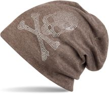 styleBREAKER classic beanie hat with skull rhinestone application, unisex 04024034 – Bild 4