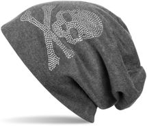 styleBREAKER classic beanie hat with skull rhinestone application, unisex 04024034 – Bild 3