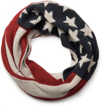 styleBREAKER knitting loop tube scarf snood in USA inspired stars and stripes design, unisex 01018133 – Bild 1