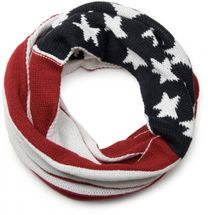 styleBREAKER knitting loop tube scarf snood in USA inspired stars and stripes design, unisex 01018133 – Bild 3