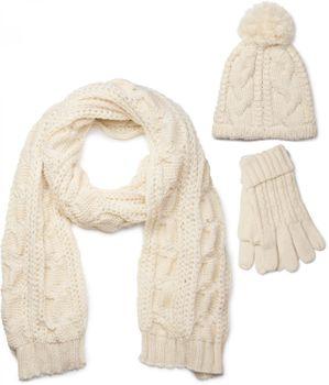 styleBREAKER Schal, Mütze und Handschuh Set, Zopfmuster Strickschal mit Bommelmütze und Handschuhe, Damen 01018208 – Bild 6